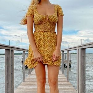 BNWT UO Yellow Frill Tie-Front Cinch Waist Dress